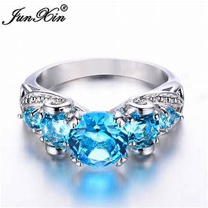 junxin female light blue round ring fashion white gold With light blue wedding ring
