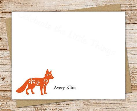 personalized stationery set fox note cards