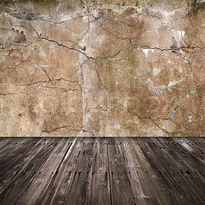 Old grunge interior background with concrete wall and ...