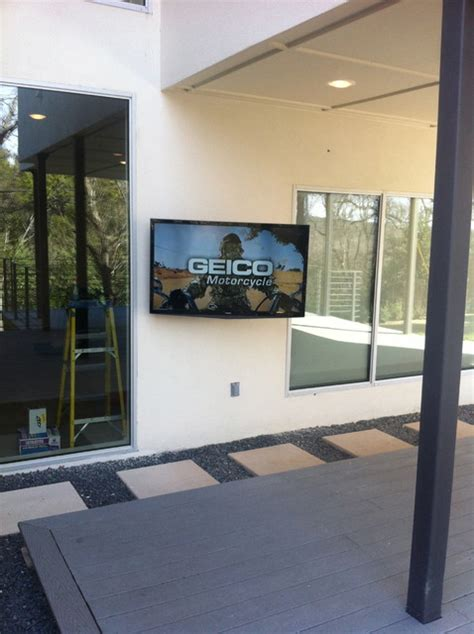 outdoor tv install contemporary patio by