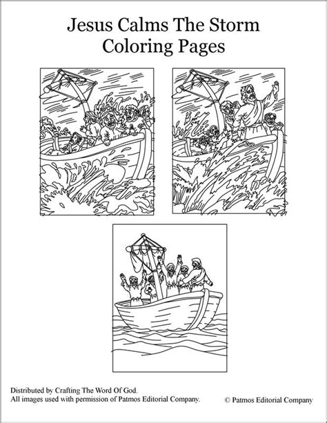 jesus calms  storm coloring pages crafting  word