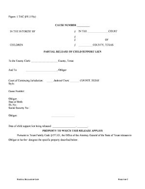 child support waiver form partial release of lien child support fill