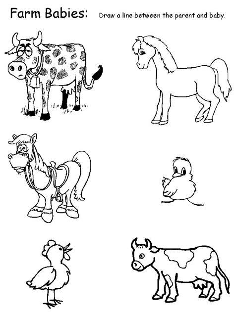 animals farm babies matching worksheet bazaar