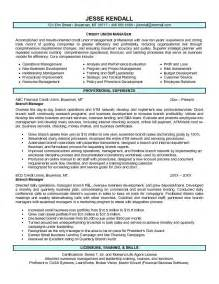 resume for bank credit manager exle credit union branch manager resume free sle