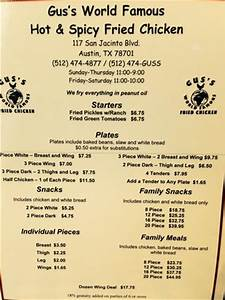 Menu - Picture of Gus's World Famous Fried Chicken, Austin ...