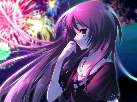 Anime Wallpaper 1024x768 - beautiful purple hair anime fireworks wallpaper
