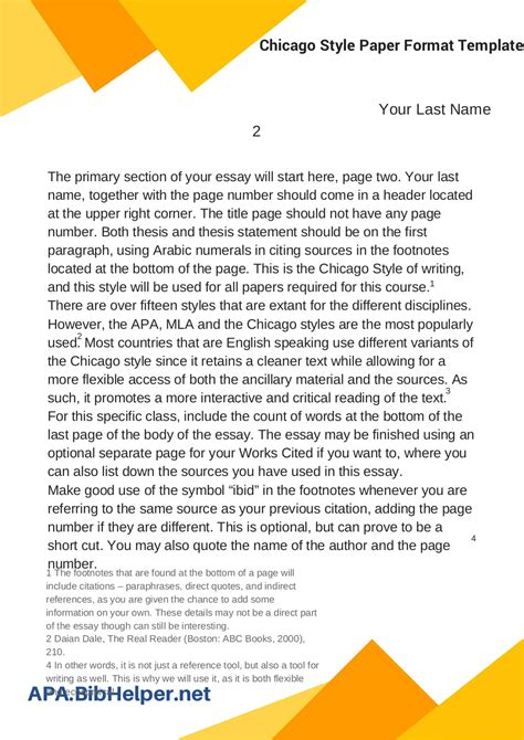 Chicago Style Paper Format Template