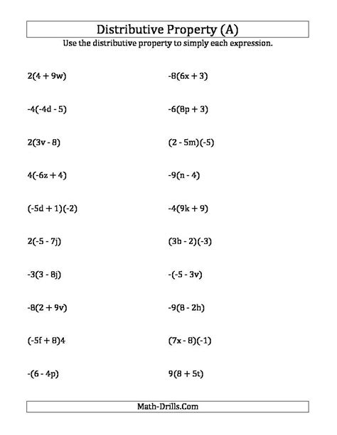 distributive property worksheets search
