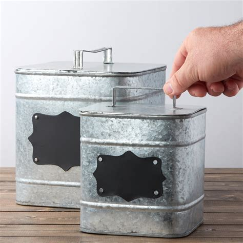 Square Galvanized Canister Set   Kitchen and Bath   Home Decor