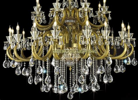 Antique Brass Color Large Crystal Chandelier Lighting With