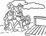 Coloring Gambar Boardwalk Mewarnai Keluarga Bersama Berlibur Printable Together Template sketch template
