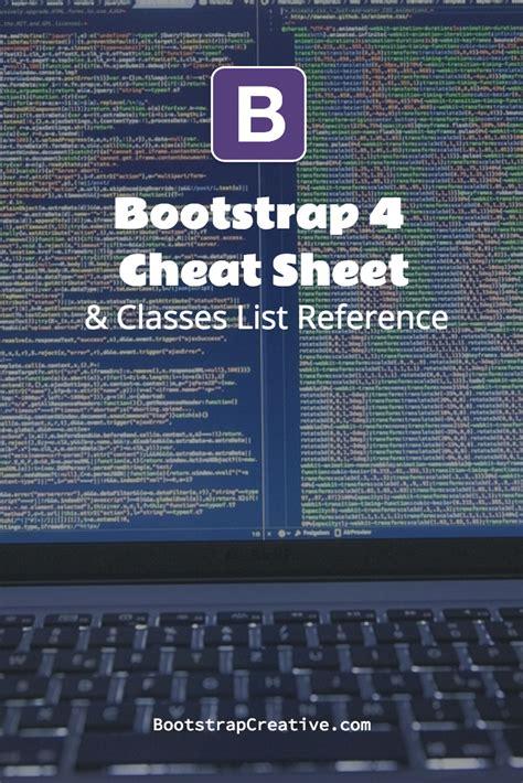 bootstrap 4 css framework cheat sheet classes list reference pdf webdesign bootstrap 4 css