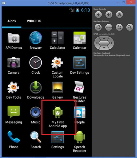 android studio app running an android app in a phone or tablet