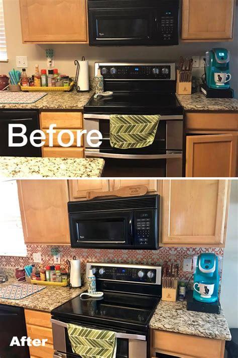 metallic tile stenciled kitchen backsplash