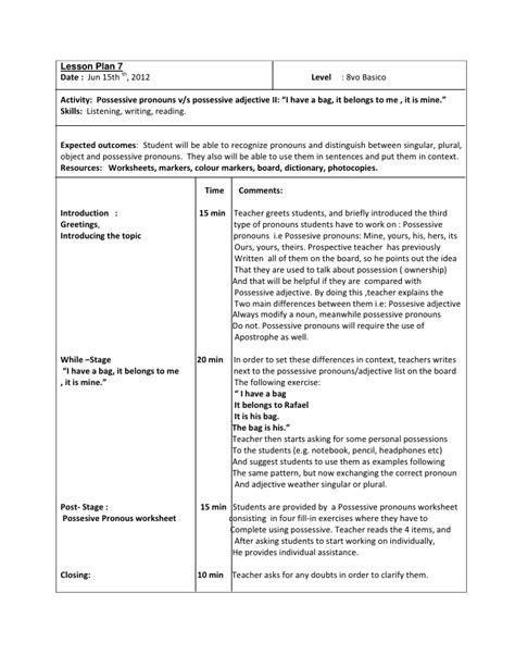 lesson plan 7 octavo basico possesive pronouns ii