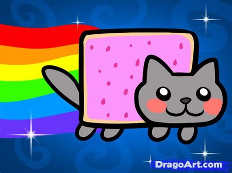 How To Draw Pop Tart Cat, Nyan Cat, Step By Step