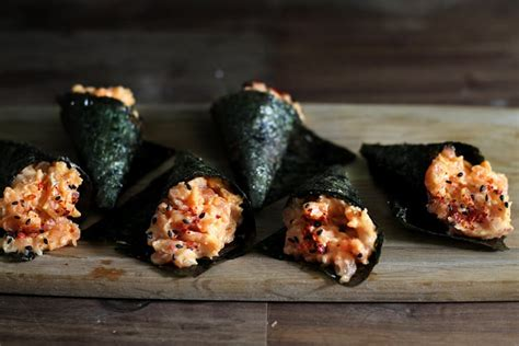 spicy salmon mini hand rolls homemade sushi recipes