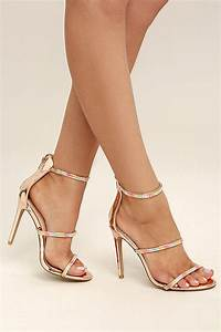 glam rose gold heels metallic dress sandals rhinestone With black dress sandals for wedding