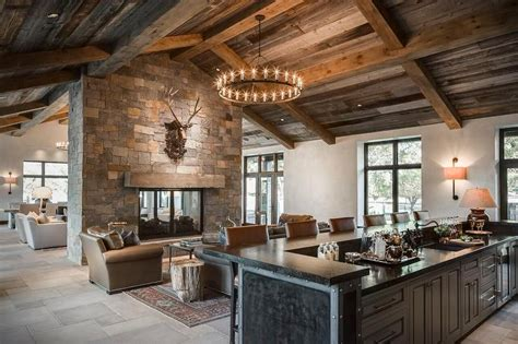 country style living room  double sided stone