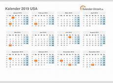 Feiertage 2019 USA Kalender & Übersicht