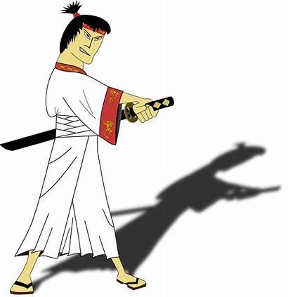 Samurai Japanese Clipart Clip Transparent Standing Silhouette