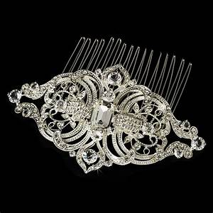 Royal Silver Vintage Rhinestone Bridal Hair Comb Comb 8356