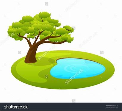 Pond Clipart Forest Tree Clip Shutterstock Vector