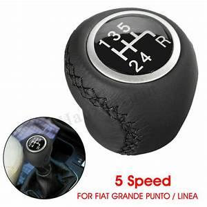 5 Speed Real Leather Gear Stick Knob Shifter Fiat Grande