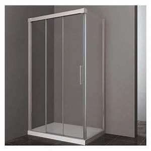 paroi de douche d39angle double coulissante tres acces sur With porte de douche coulissante avec meuble salle de bain 140 cm double vasque sur pied