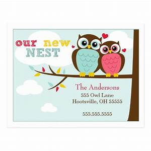loveable owls moving announcements postcards zazzle With moving home cards template