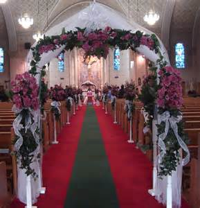 wedding arches in church wedding decorations with maroon flowers