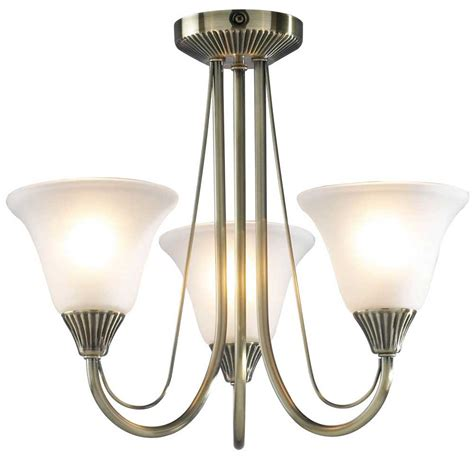 bos03 boston 3 light semi flush ceiling fitting in antique