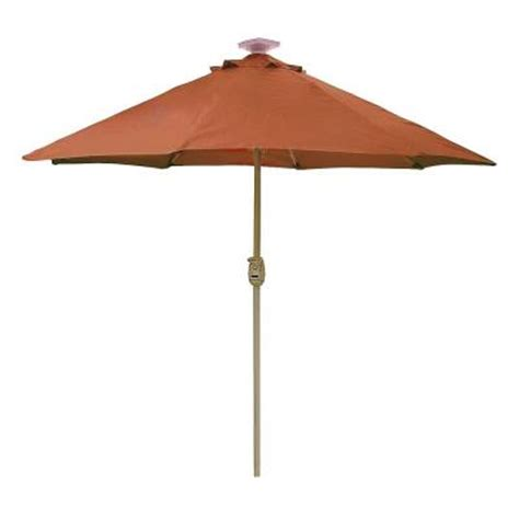 hton bay 9 ft solar lighted auto lift patio umbrella
