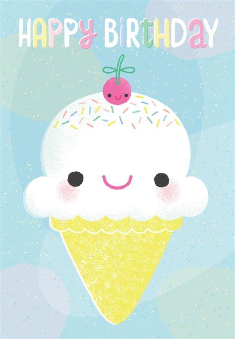 smiling ice cream cone birthday card  island