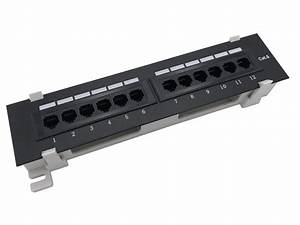 12 Port Cat6 Vertical Rackmount 110 Rj45 Patch Panel 568a