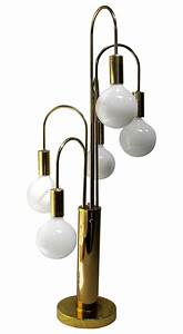 Mid century modern brass with 5 globe table lamp chairish for 5 globe table lamp