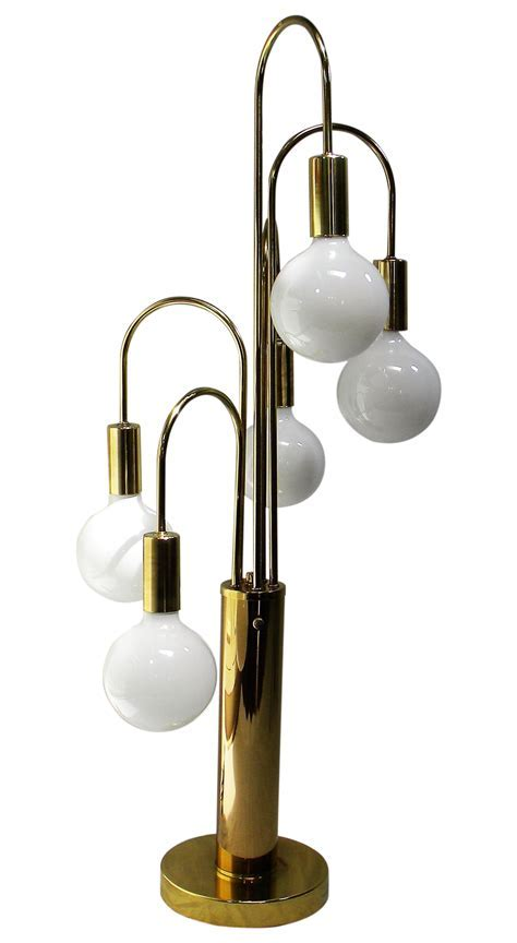 Mid Century Modern Brass with 5 Globe Table Lamp   Chairish