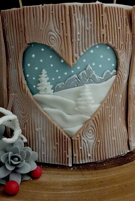 christmas cake wood bear hare snow acorns berries fondant