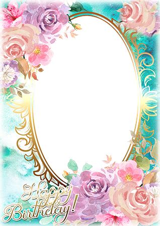 photo frames watercolor based birthday greeting card