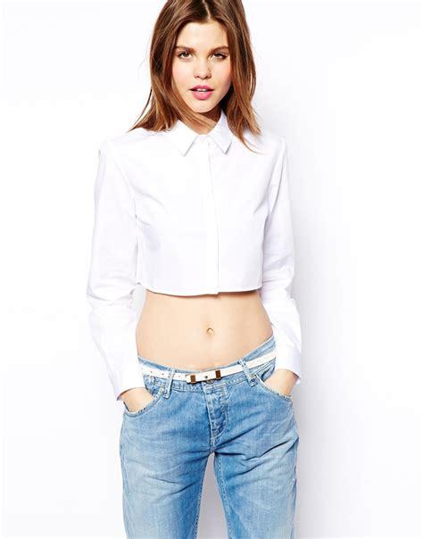 crop top blouse asos crop shirt in white lyst