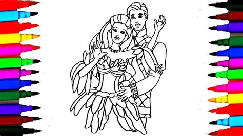 How To Draw Barbie Princess And Prince Ken Coloring Pages