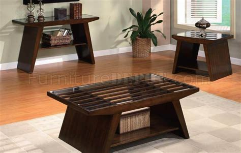 dark brown finish modern coffee table wclear glass top