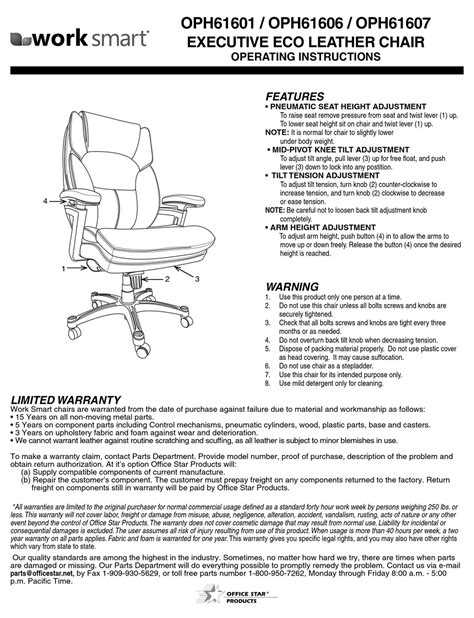 OFFICE STAR PRODUCTS WORK SMART OPH61601 OPERATING