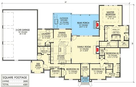bedroom acadian house plan  great space