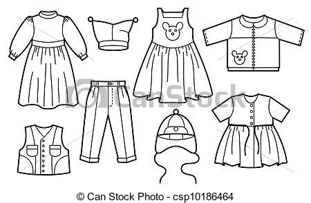 clip art vector  children clothes silhouette