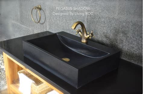 "24"" Black Granite Bathroom Sink + Faucet Hole  Pegasus Shadow"