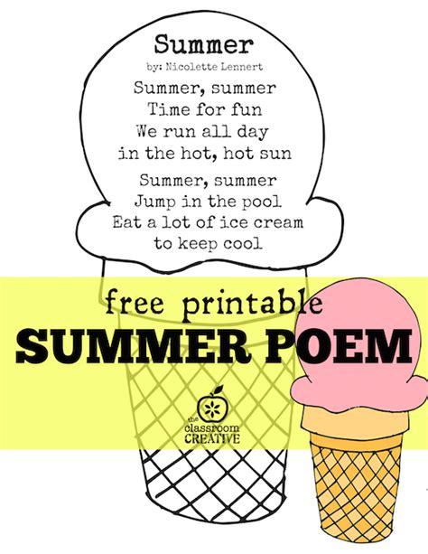 free printable summer poem for preschool kindergarten 818   summer poem free printable