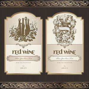 vintage elements of wine labels vector material 01 With design wine labels online free