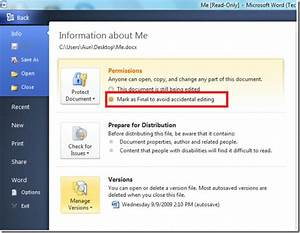 change properties mark your document as final in With microsoft documents read only