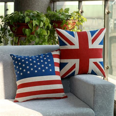 2015 new cotton printing pillow american flag